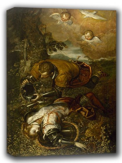 Tintoretto, Jacopo Robusti: Tancred Baptizing Clorinda. Fine Art Canvas. Sizes: A4/A3/A2/A1 (002001)